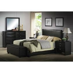 Platform QUEEN Size Bed Upholstered Brown Leather Headboard