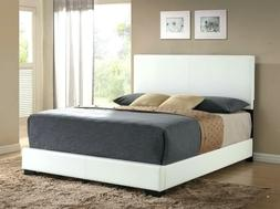 platform queen size bed upholstered white leather