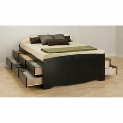 PLATFORM STORAGE BED Queen Size 12 Drawers Wood Modern Bedro