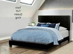 Platform Upholstered PU Leather Black Bed Frame Headboard Tw