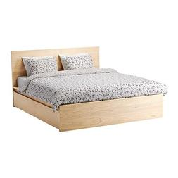 Ikea Queen size High bed frame/4 storage boxes, white staine