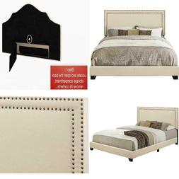 Queen Bed Frame Complete Set Rails Upholstered Headboard Bed