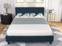 Queen Bed Frame w/ Tufted Square Stitched Headboard Platform