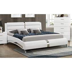 Bowery Hill Queen Faux Leather Bed in White