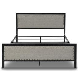 Queen/FULL Rivet Design Metal Bed Frame W Upholstered Headbo