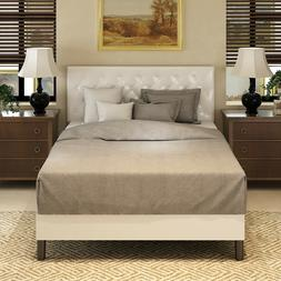 Queen Full Size PU Leather Metal Bed Frame Button Tufted Uph