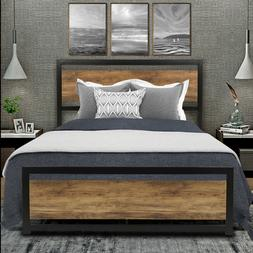 Queen Full Size Metal Platform Bed Frame with Rustic Wood He
