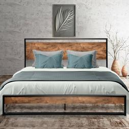 Full Twin Size Metal Platform Bed Frame with Rustic Wood Hea