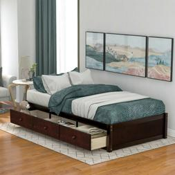 Queen Full Twin Size Wood Platform Bed Frame Heavy Duty Stor
