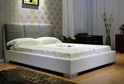 Greatime Queen, White Leatherette Bed with Gray Fabric Headb