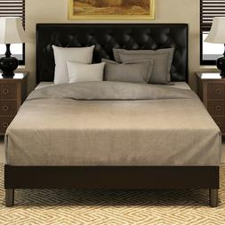 Queen Metal Platform Bed Frame with Square Stitched Tufted U