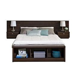 BOWERY HILL Queen Platform Storage Bed with Floating Headboa
