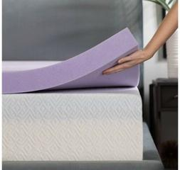Queen Size Bed LUCID 3 Inch Lavender Infused Memory Foam Mat
