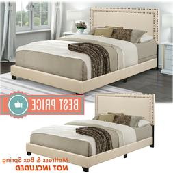 Queen Size Bed Frame Platform With Headboard Cream White Uph