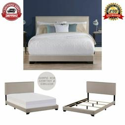 upholstered platform bed queen size w wood