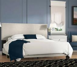 Queen Size Bed Frame With Nailhead Headboard Beige Modern Be