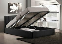 Queen Size Bed Frame With Shoe Storage Tufted Headboard Leat