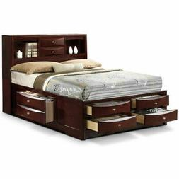 Queen Size Bed Storage Bed Drawers and Bookcase Headboard Be