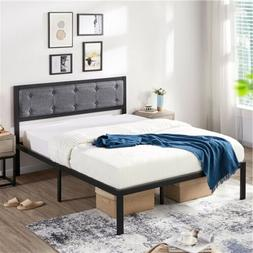 Full/Queen Linen Upholstered Platform Metal Bed Frame w/Butt
