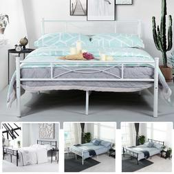 Queen Size Metal Bed Frame Bedroom Mattress Platform Foundat