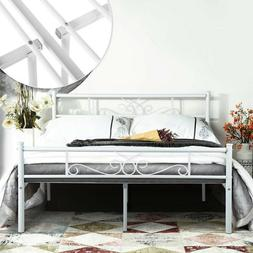 Queen Size Metal Bed Frame Mattress Foundation with Headboar