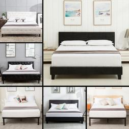 Contemporary Queen Size Metal Bed Frame Platform Headboard B