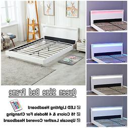 Queen Size Modern Bedroom Platform Bed Frame Headboard LED L