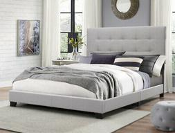 Queen Size Platform Bed Frame Upholstered Headboard Tufted B