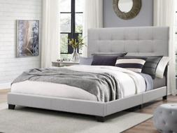 Queen Size Platform Bed Frame w/Tufted Headboard Gray Uphols