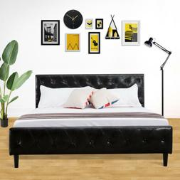 Queen Size Platform Metal Bed Frame PU Leather Button Tufted