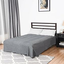 Queen Size Steel Bed Frame with Wooden Slat Support Mattress