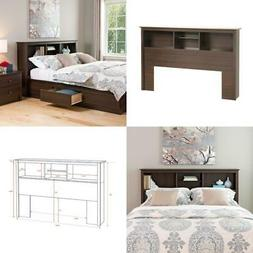 Queen Size Wood Shelf Bed Headboard Only W/ Storage Contempo