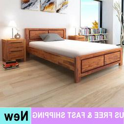 Queen Size Wooden Bed Frame Solid Acacia Wood Brown Bedroom