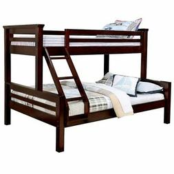 Furniture of America Reed Twin over Queen Bunk Bed in Dark W