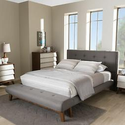 Reena Modern Tufted Gray Fabric Platform Bed Frame with Buil
