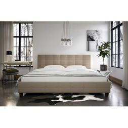 DHP Rose Linen Tufted Upholstered Platform Bed, Button Headb