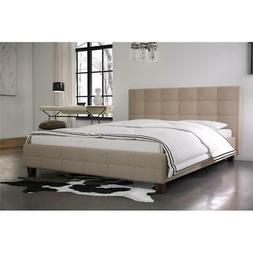 Rose Linen Upholstered Bed, Tan, Multiple Sizes