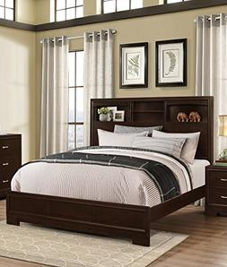 Roundhill Furniture Montana Modern Wood Bookcase Bed, Queen,