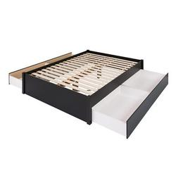 Prepac Select Queen 4-Post Platform Bed with 4 Drawers in Bl