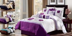 SET 3PC EMBROIDERY DUVET COMFORTER BED COVER GORGEOUS FLORAL