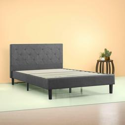 Zinus Shalini Upholstered Diamond Stitched Platform Bed, Dar