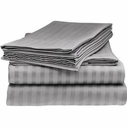 Sheet & Pillowcase Sets ITALIAN STRIPED 4PC QUEEN Set, GREY