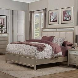 Silver Dreams Upholstered Panel Bed, Queen