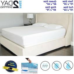 Soft & Quiet Waterproof Mattress Bed Protector Cover King Qu