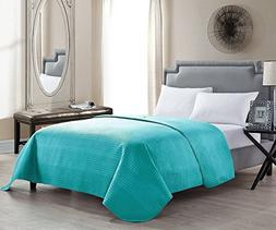 HollyHOME Solid Color Bed Quilt Coverlet for Full/Queen Size