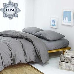 MKXI Solid Elegant Comforter Cover, Home Bedroom Cotton Grey