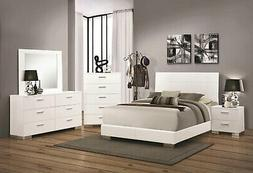 SPECIAL ORDER Glossy White Bedroom Furniture - 3pcs Queen Pl