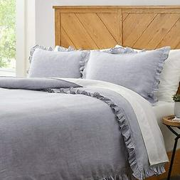 Stone & Beam Linen Ruffle Duvet Cover Set, Full / Queen, Sof