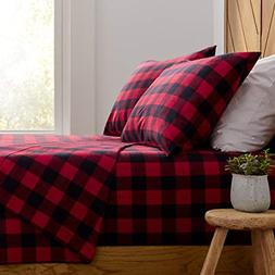 Stone & Beam Rustic Buffalo Check Flannel Bed Sheet Set, Que