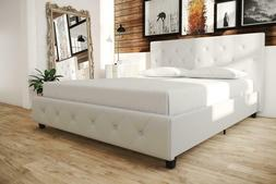 Top Quality Upholstered Faux Leather Platform Bed with Woode